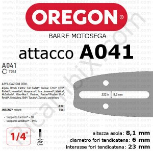 Barre motosega Oregon - attacco A041 - 1/4 di pollice x 1,3 mm - catalogo completo barre motosega oregon
