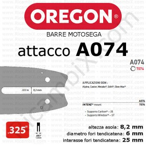 Barre motosega Oregon - attacco A074 - .325 pollici x 1,6 mm - catalogo completo barre motosega oregon