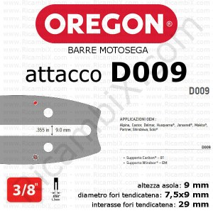 barra motosega Oregon D009 - 3/8