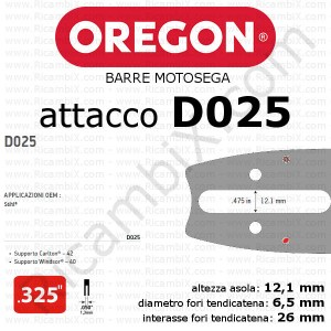 barra motosega Oregon D025 - .325 x 1,3 mm