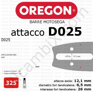 barra motosega Oregon D025 - .325 x 1,6