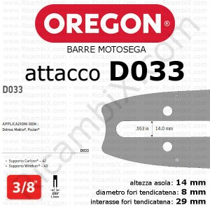 barra motosega Oregon D033 - 3/8 x 1,5 mm