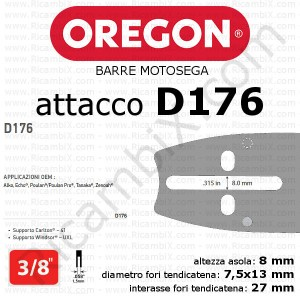 barra motosega Oregon D176 - 3/8 x 1,5 mm