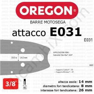 barra motosega Oregon E031 - 3/8 x 1,6 mm