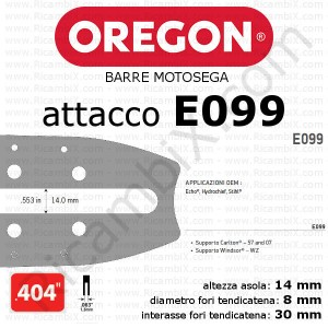 barra motosega Oregon E099 - 404 x 1,6 mm