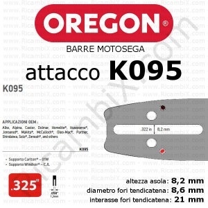 Barre motosega Oregon - attacco K095 - .325 pollici x 1,3 mm - narrow-kerf - catalogo completo barre motosega oregon