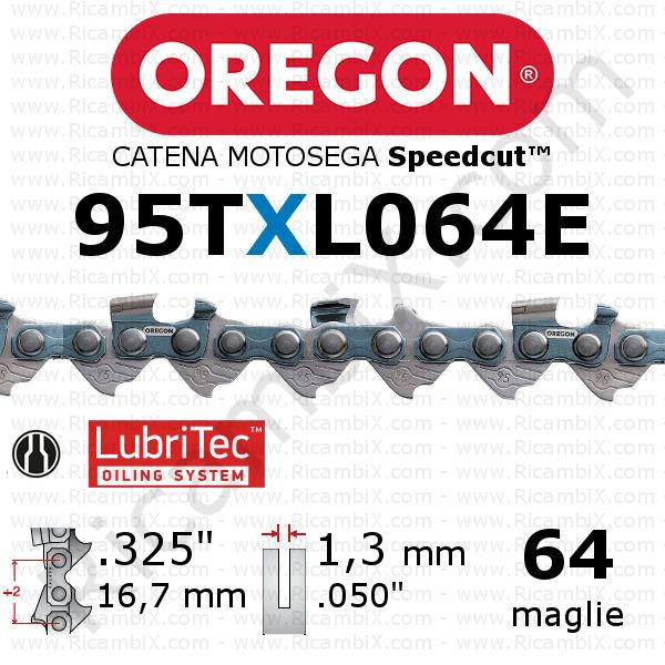 catena motosega Oregon 95TXL064E - passo .325 x 1,3 mm - 64 maglie - speedcut