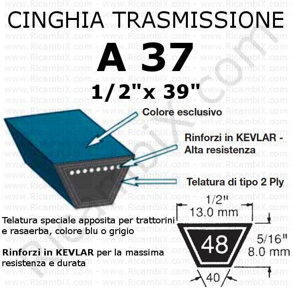 Cinghia MOTORE - SEMOVENZA trattorino CASTELGARDEN - Rider Easy Life - 63 cm di taglio