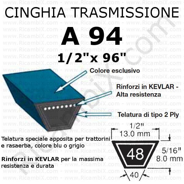 Cinghia MOTORE - IDROSTATICO trattorino CASTELGARDEN - 98s - 98 cm di taglio
