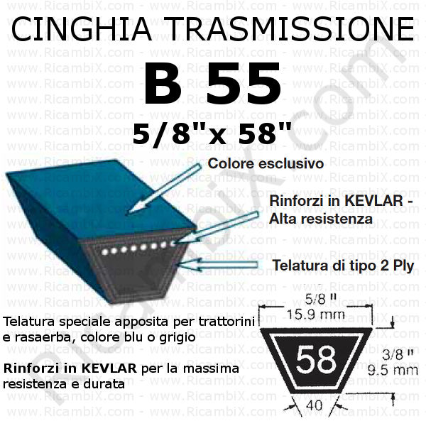 Cinghia MOTORE - PIATTO trattorino CASTELGARDEN - Twin Cut Plus 102 - innesto elettronico