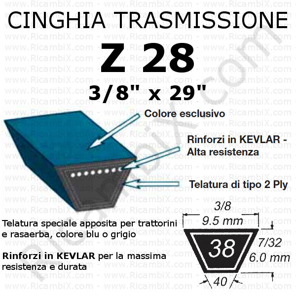 Cinghia TRAZIONE rasaerba CASTELGARDEN - PA 502 TR - F 502 TR - NG 504 TR - NG 504 TR-E