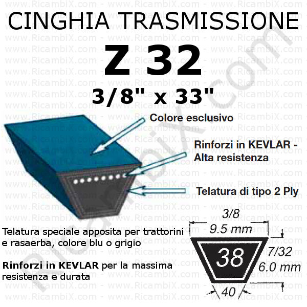 Cinghia TRAZIONE rasaerba CASTELGARDEN - PA 504 TR - F 504 TR - PA 504 TR-E - F 504 TR-E