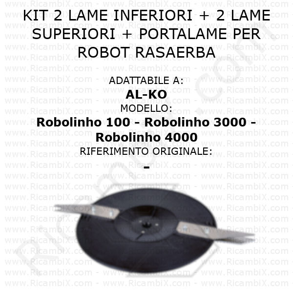 Kit 2 lame inferiori + 2 lame superiori + portalame per robot rasaerba AL-KO Robolinho 100 - Robolinho 3000 - Robolinho 4000 - rif. orig. -