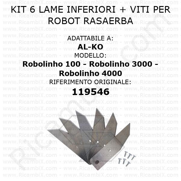 Kit 6 lame inferiori per robot rasaerba AL-KO Robolinho 100 - Robolinho 3000 - Robolinho 4000 - rif. orig. 119546