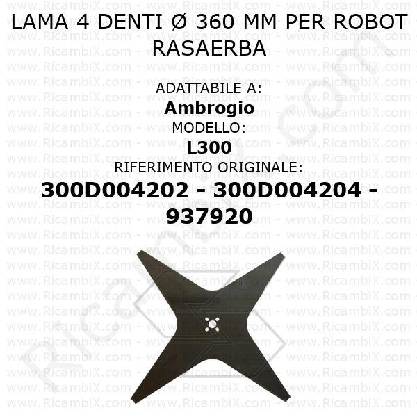 Lama 4 denti Ø 360 mm per robot rasaerba Ambrogio L300 - rif. orig. 300D004202 - 300D004204 - 937920