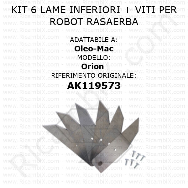 Kit 6 lame inferiori per robot rasaerba Oleo-Mac Orion - rif. orig. AK119573