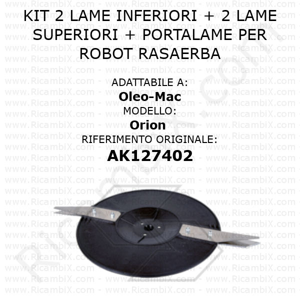Kit 2 lame inferiori + 2 lame superiori + portalame per robot rasaerba Oleo-Mac Orion - rif. orig. AK127402