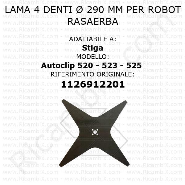 Lama 4 denti Ø 290 mm per robot rasaerba Stiga Autoclip 520 - 523 - 525 - rif. orig. 1126912201