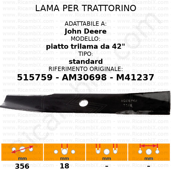 """Lama per trattorino JOHN DEERE piatto 42"""" trilama - rif. orig. 515759 - AM30698 - M41237"""
