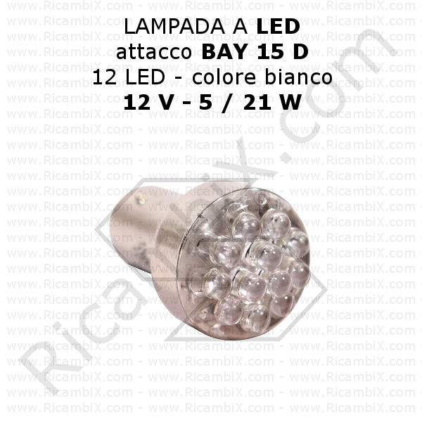 Lampadine a led 12v lampada 12 led bianco 12 volt 5 for Lampadine led 1 watt
