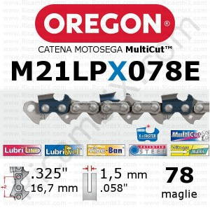catena motosega Oregon M21LPX078E - passo .325 x 1,5 mm - 78 maglie - MultiCut - alternativa widia - diamantata