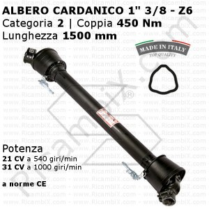 Albero cardanico a norma CE - categoria 2 - 450 Nm - Lunghezza 1500 mm