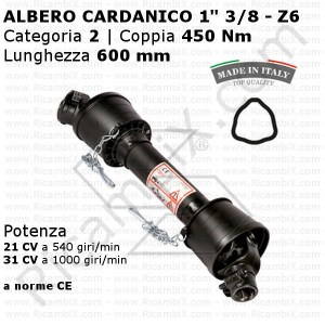 Albero cardanico a norma CE - categoria 2 - 450 Nm - Lunghezza 600 mm
