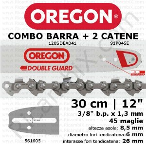 Barra motosega Oregon Double Guard 120SDEA041 - 30 cm - 12 pollici + 2 catena motosega Oregon 91P045E