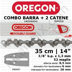 Barra motosega Oregon Double Guard 140SDEA041 - 35 cm - 14 pollici + 2 catena motosega Oregon 91P052E
