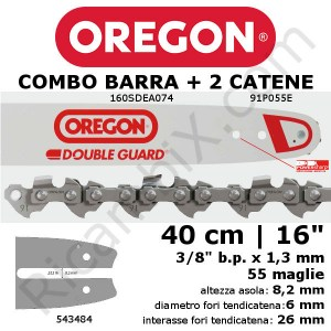 Barra motosega Oregon Double Guard 160SDEA074 - 40 cm - 16 pollici + 2 catena motosega Oregon 91P055E