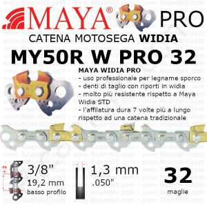 Catena motosega Widia MAYA® PRO MY50R W PRO 32 | 3/8 di pollice x 1,3 mm | basso profilo | 32 maglie | Widia