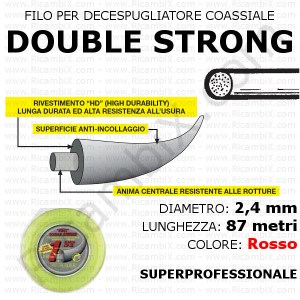 Filo superprofessionale coassiale DOUBLE STRONG - 2,4 mm - valva 87 metri - rosso