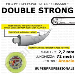 Filo superprofessionale coassiale DOUBLE STRONG - 2,7 mm - valva 72 metri - arancio