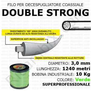 Filo superprofessionale coassiale DOUBLE STRONG - 3,0 mm - bobina industriale 10 kg - lunghezza 1240 metri - colore verde