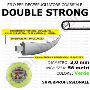 Filo superprofessionale coassiale DOUBLE STRONG - 3,0 mm - valva 56 metri - verde