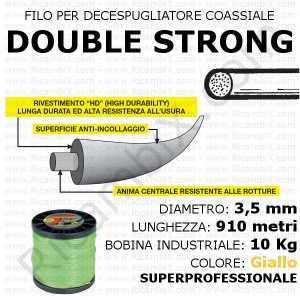 Filo superprofessionale coassiale DOUBLE STRONG - 3,5 mm - bobina industriale 10 kg - lunghezza 910 metri - colore giallo