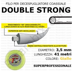 Filo superprofessionale coassiale DOUBLE STRONG - 3,5 mm - valva 41 metri - giallo - anima