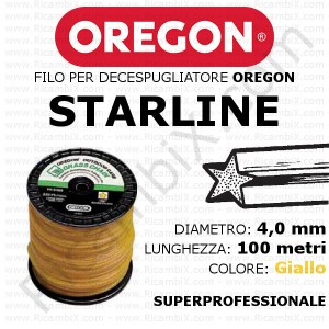 Filo superprofessionale OREGON STARLINE - diametro 4,0 mm - bobina da 100 metri - colore giallo - filo stellare - filo stellato