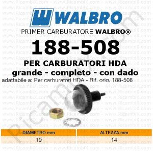 Primer carburatore WALBRO® 188-508 | pompetta di ripresa | pompante per carburatori WALBRO® HDA | diametro 19 mm | altezza 14 mm | ricambio originale WALBRO® | con filetto e dado